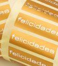 "Etiqueta ""FELICIDADES"" castellano"