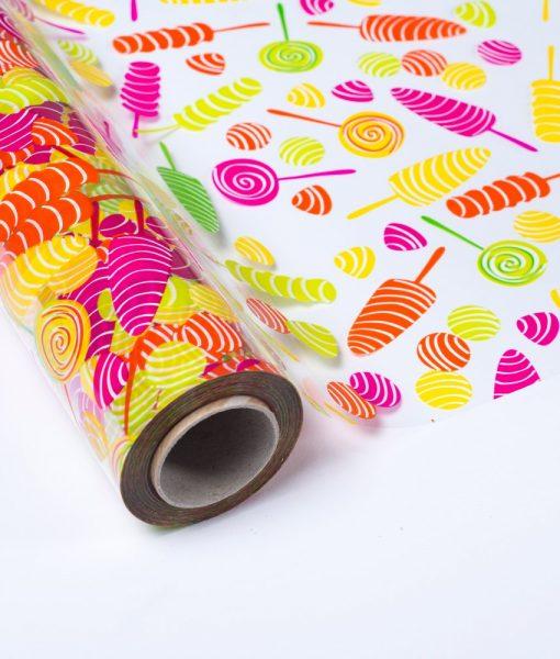 """Polipropileno Transparente Impreso """"Caramelos Multicolor"""""""