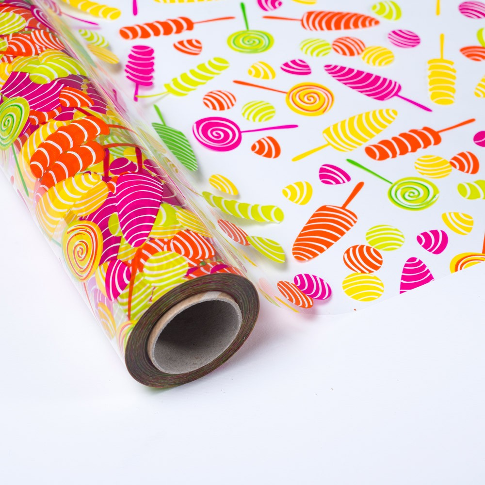 Papel de regalo transparente con caramelos y piruletas - Papel de regalo transparente ...