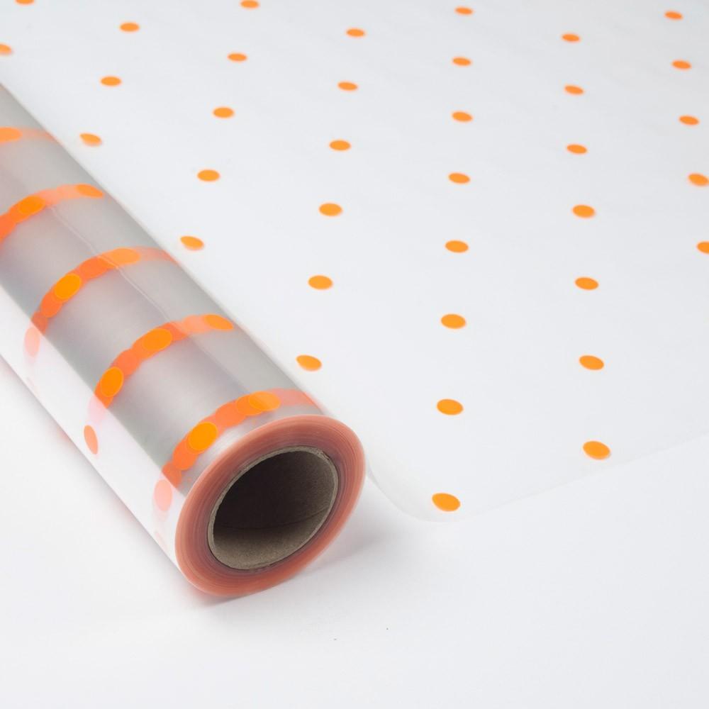 Papel de regalo transparente con topos color naranja - Papel de regalo transparente ...