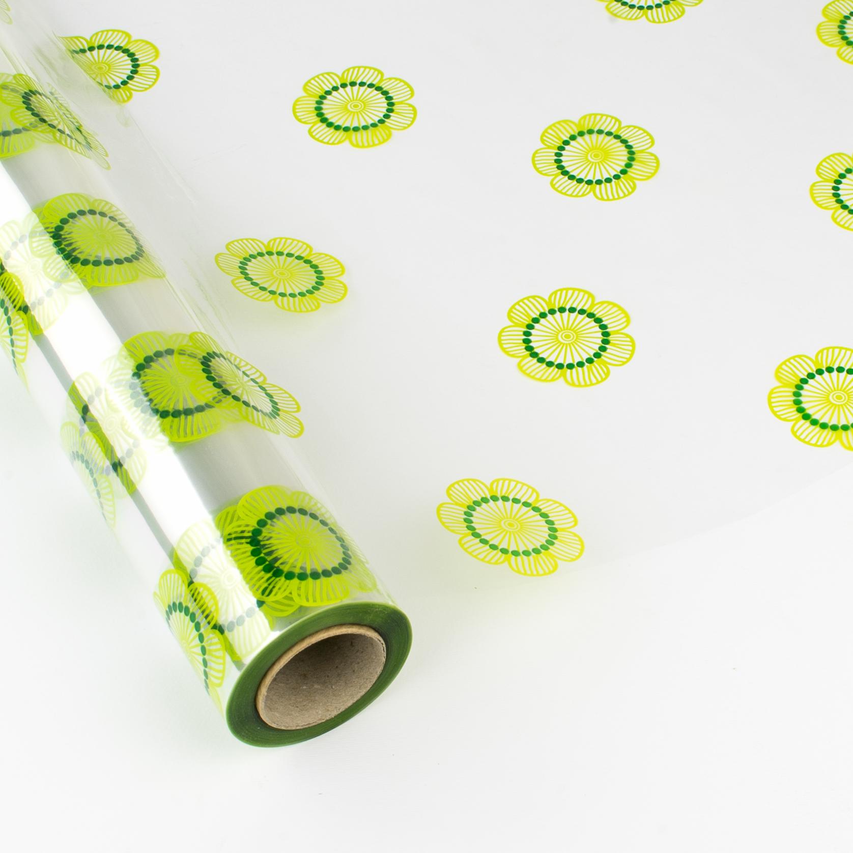 Papel de regalo transparente con flores amarillas y verdes - Papel de regalo transparente ...