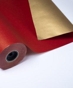 Bobina Papel de Regalo Doble Cara Rojo y Oro