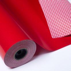 Bobina Papel de Regalo Doble Cara Cuadros Rojo