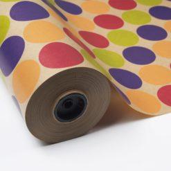 Papel Kraft con Topos Multicolor