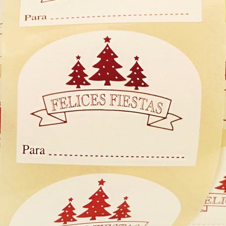 """Etiquetas Navidad con frase """"FELICES FIESTAS"""""""