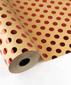 Bobina Papel de Regalo con Topos / Lunares Rojo Metalizado