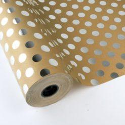 Papel de Regalo con Lunares Plata Metalizado