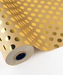 Bobina Papel de Regalo con Lunares Oro Metalizado