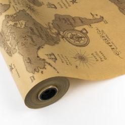 Papel de Regalo Kraft Vintage Mapamundi
