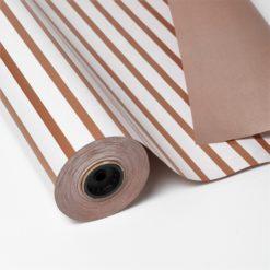 Bobina Papel de Regalo Diseño de Rayas en Blanco y Cobre