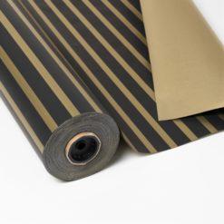 Papel de Regalo Doble Cara Diseño de Rayas Negro Oro