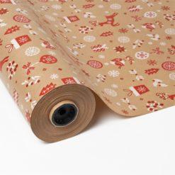 Papel de Regalo Kraft Navidad - Bolas y Campanas