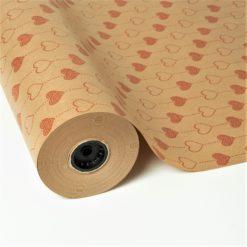 Papel Kraft Impreso Diseño de Corazones
