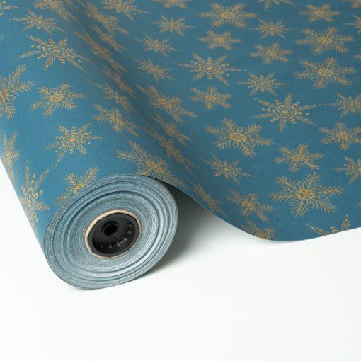 Papel de Regalo de Navidad Metalizado Azul y Oro