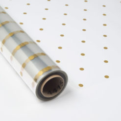 Papel de Regalo Transparente con Topos en color Oro